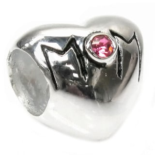 Queenberry Sterling Silver 'Mom' Bead Pink Crystal European Bead Charm