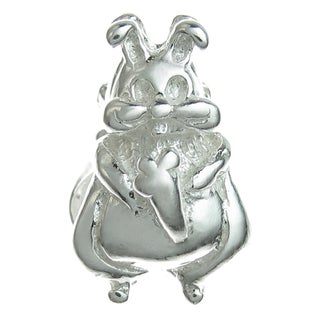 Queenberry Sterling Silver Easter Bunny Rabbit European Bead Charm