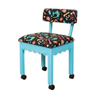 Arrow Sewing Cabinets Blue Wood Black Patterned Fabric Sewing Table Chair