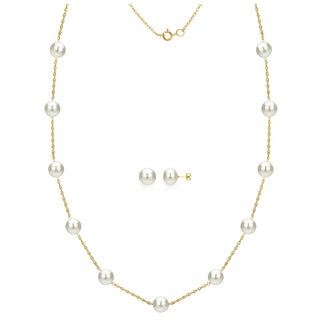 DaVonna 14k Yellow Gold 6-7mm White Freshwater Pearl Tin-cup Station Necklace and Stud Earrings Set