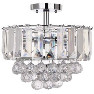 Safavieh Lighting Vaxcel 3 Lights Chrome Acrylic 13.5-Inch Flush Mount
