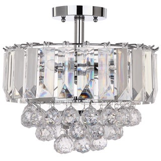Safavieh Lighting 13.5-inch Vaxcel 3-light Chrome Acrylic Flush Mount