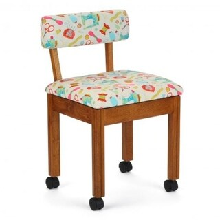 Arrow Sewing Cabinets Oak Wood White Fabric Patterned Sewing Table Chair