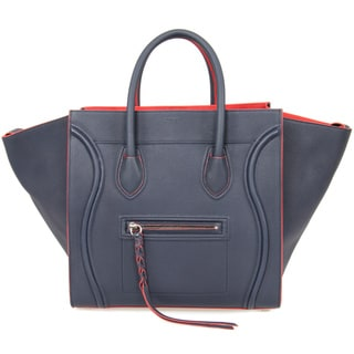 Celine Luggage Phantom Medium Navy Leather w/ Red Interior Leather Handbag