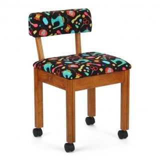 Arrow Sewing Cabinets Oak Wood Black Patterned Fabric Sewing Table Chair