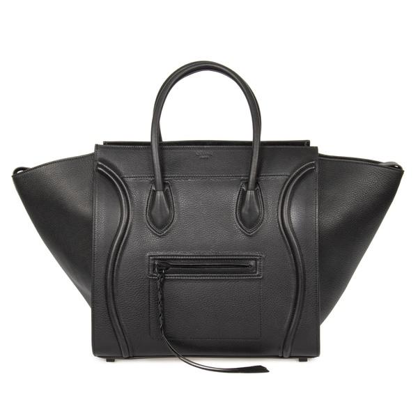 f938efb39e Celine Luggage Phantom Medium Black Leather w  Black Interior Leather  Handbag