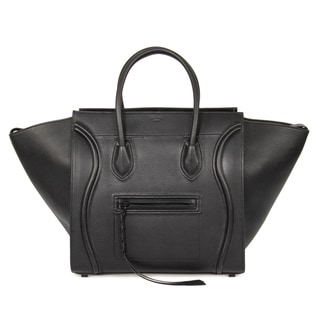 Celine Luggage Phantom Medium Black Leather w/ Black Interior Leather Handbag