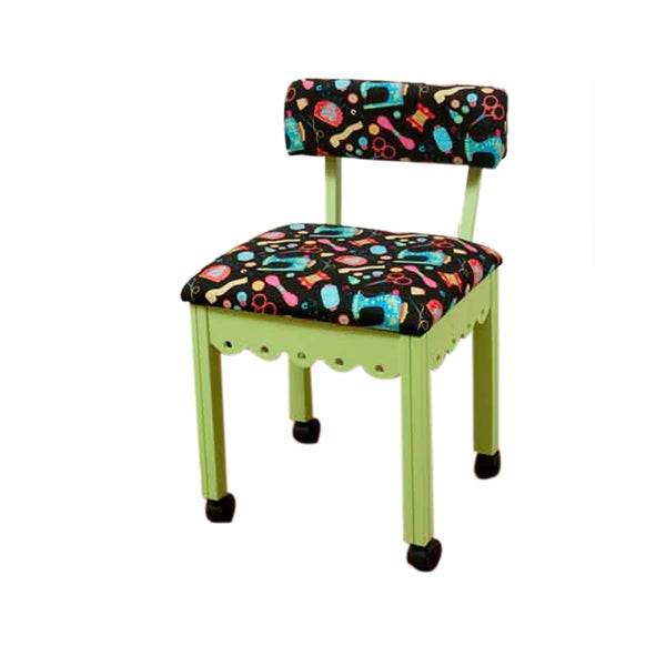 Arrow Sewing Cabinets Green Wood Black Patterned Fabric