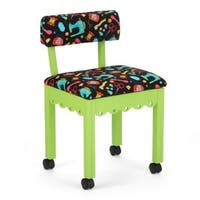 Arrow Sewing Cabinets Green Wood Black Patterned Fabric Sewing Table Chair