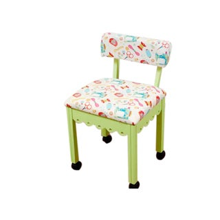 Arrow Sewing Cabinets Green Wood White Patterned Fabric Sewing Table Chair