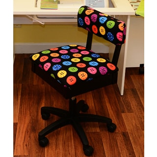 Arrow Sewing Cabinet Hydraulic Sewing Chair with Riley Black Button Motif Fabric