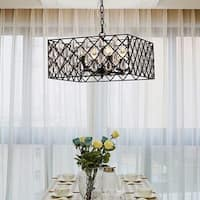 Tafari Black Metal and Glass 16-inch Square Pendant Light