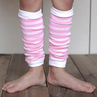 Girl's Pink Striped Leg Warmers