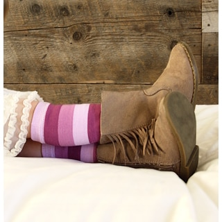 Girl's Lavender Striped Leg Warmers