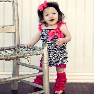 Girl's Zebra and Hot Pink Romper