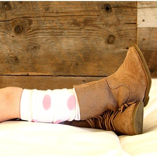 White Leg Warmers with Pink Polka Dots