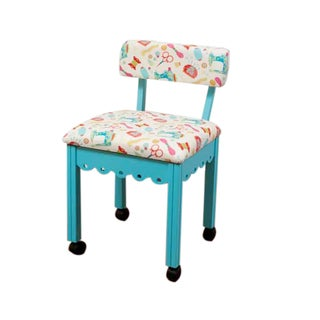 Arrow Sewing Cabinets Blue Wood White Patterned Fabric Sewing Table Chair