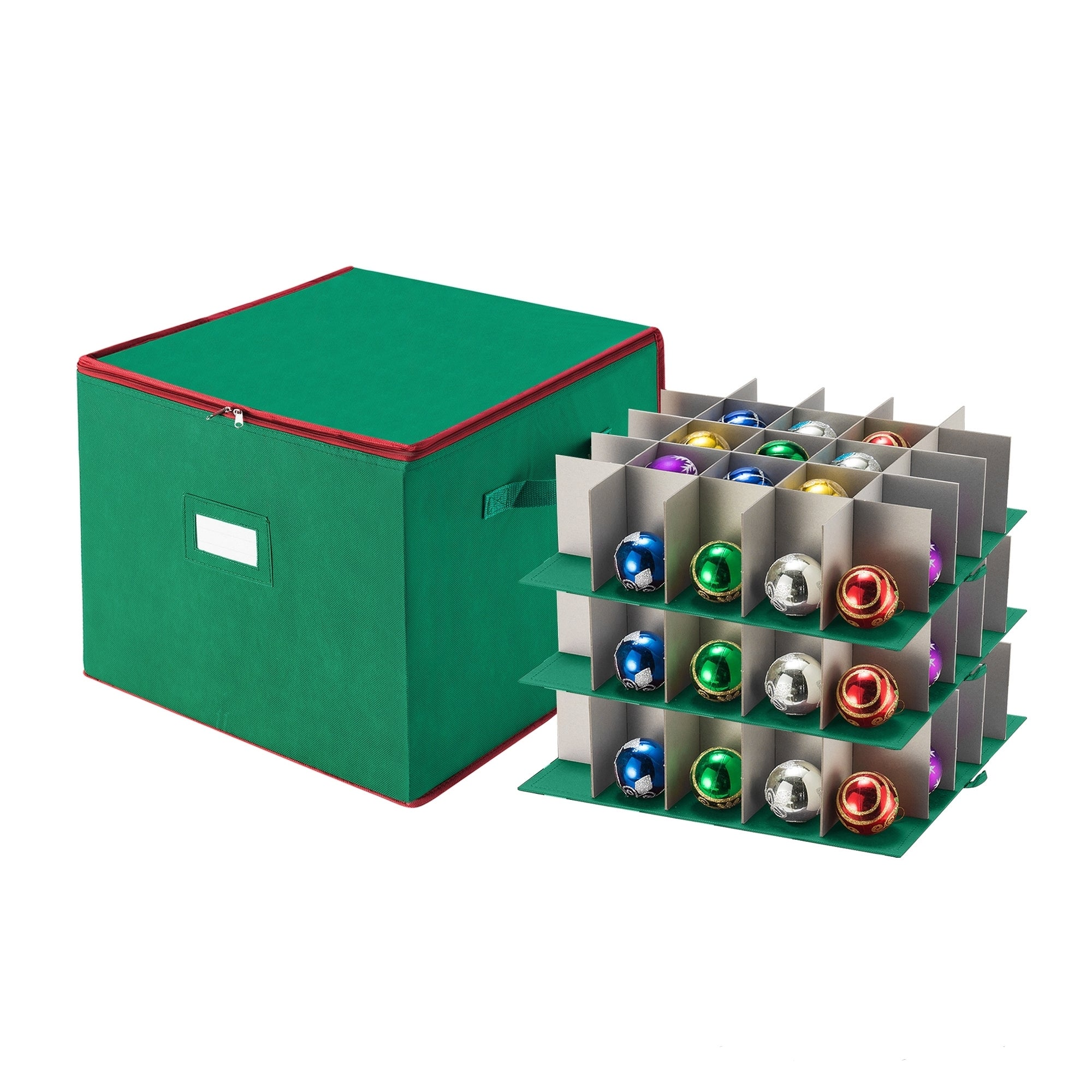 Christmas Ornament Storage.Tiny Tim Totes Red Green Fabric Christmas Ornament Storage Chest With Dividers