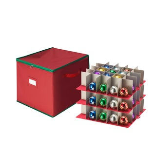 Tiny Tim Totes Red Christmas Ornament 64-ball Divided Storage Chest