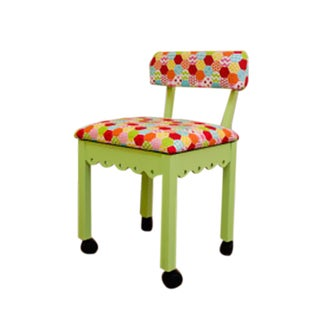 Arrow Sewing Cabinet Model 6014 Pistachio Green Wood Chair with Gingerbread and Hexi Rainbow Fabric Upholstery
