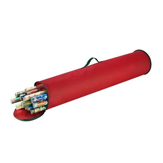 Elf Stor Christmas Gift Red Polypropylene Stand Up 40.5-inch Wrapping Paper Wrap Storage Bag