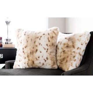 Baltic Linen Luxury Quality Animal-print Faux Fur and Down Alternative Square Decorative Pillow
