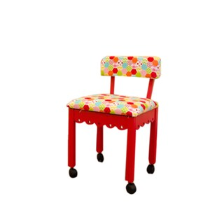 Arrow Sewing Cabinet Model 6016 Red Wood Sewing Chair With Gingerbread and Hexi Rainbow Fabric