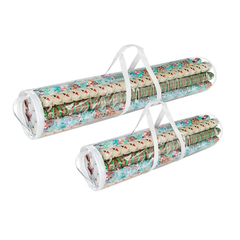 Elf Stor White and Clear PVC 40-inch and 31-inch Christmas Wrapping Paper Storage Bag Set