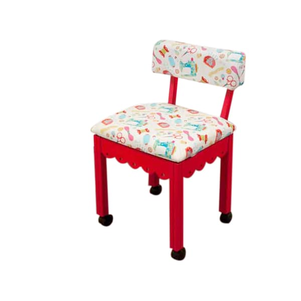 Arrow Sewing Cabinets Red Wood White Patterned Fabric Sewing Table Chair