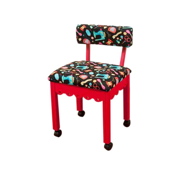 Arrow Sewing Cabinets Red Wood Black Patterned Fabric Sewing Table Chair