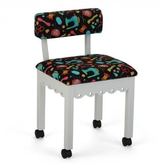 Arrow Sewing Cabinets White Wood Black Patterned Fabric Sewing Table Chair