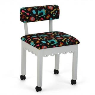 Arrow Sewing Cabinets White Wood Black Patterned Fabric Sewing Table Chair|https://ak1.ostkcdn.com/images/products/13435231/P20126953.jpg?impolicy=medium