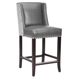 "Marlin Grey Leather Wing Back 26"" Counter Stool"