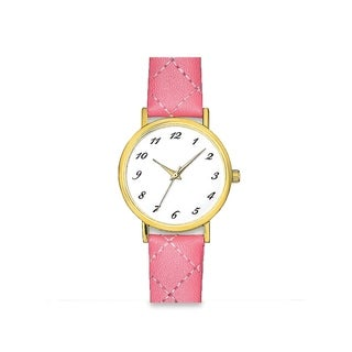 Womens Pink Faux Leather Stitched Band White Easy Read Dial Watch