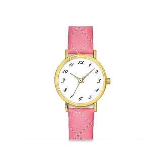 Womens Pink Faux Leather Stitched Band White Easy Read Dial Watch|https://ak1.ostkcdn.com/images/products/13435249/P20127007.jpg?impolicy=medium