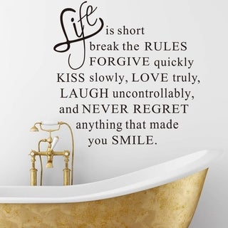 """Life is Short"" Removable Vinyl Wall Decal Sticker"