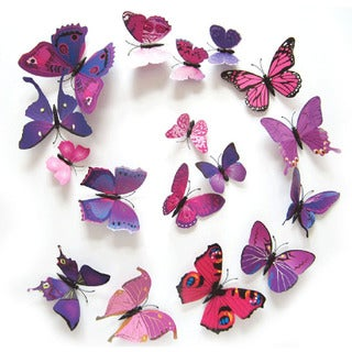 12 pc 3D Butterfly Removable PVC Wall Decal Stickers (3 options available)