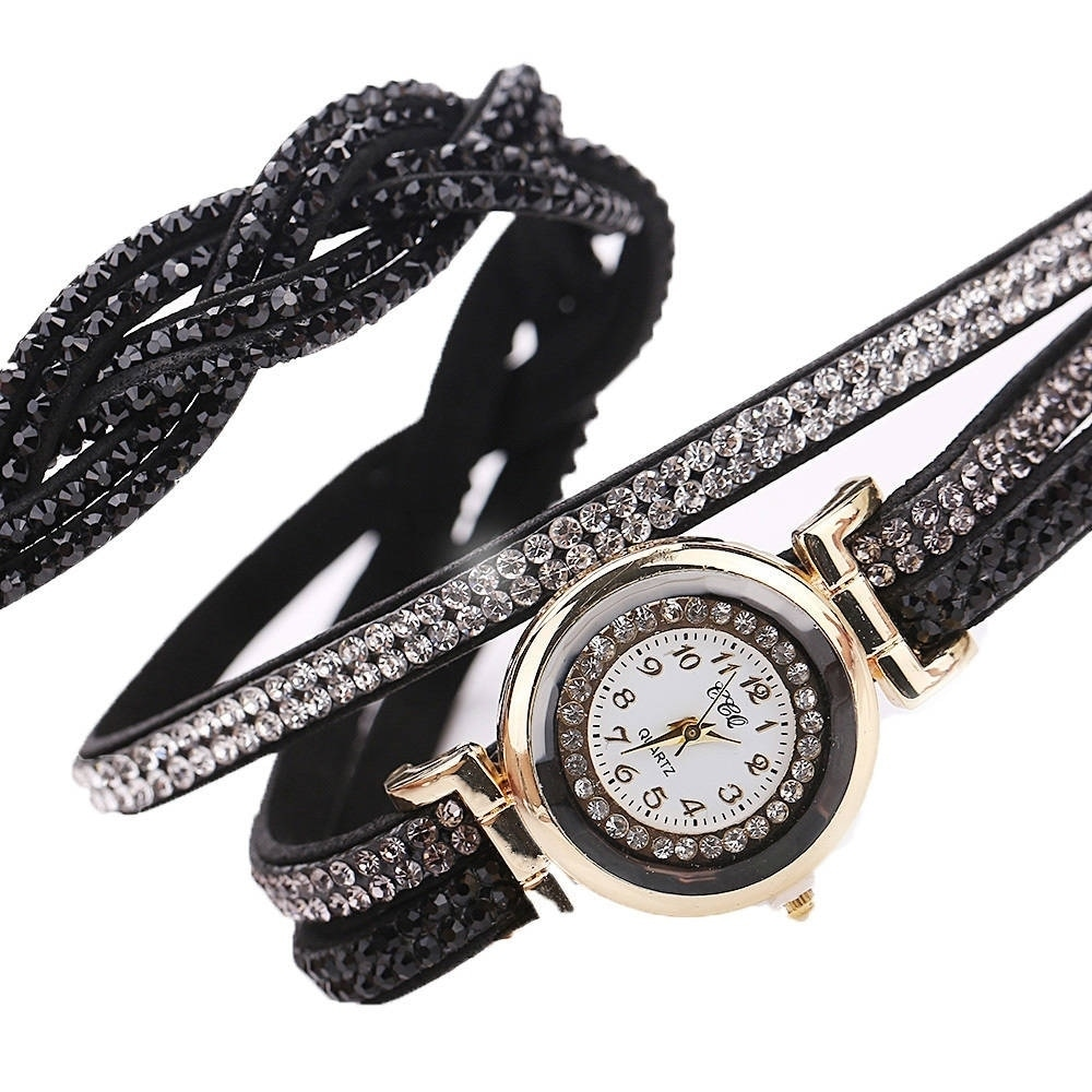 Womens Bling Faux Leather Wrap Around Band Watch Easy Rea...