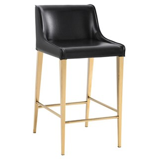 """Lawrence Obsidian Black and Gold 26"""" Counter Stool"""