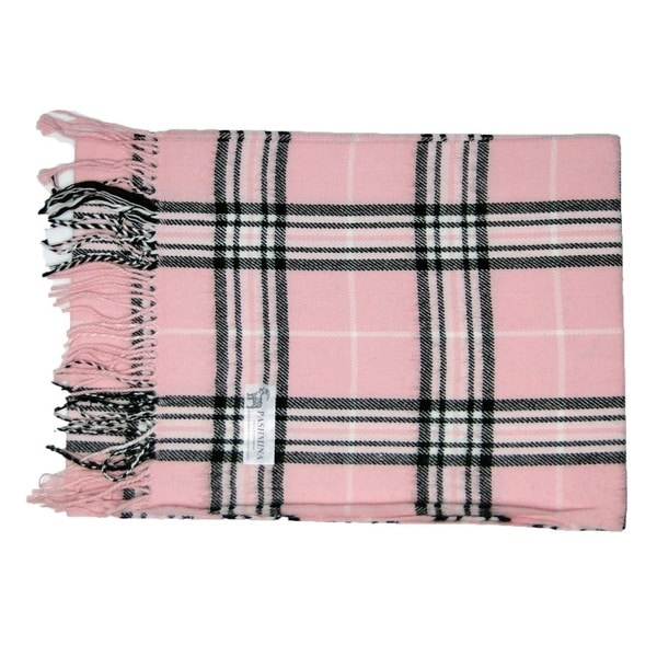 Deluxe Comfort Pink Cashmere-feel New England Plaid Scarf - L
