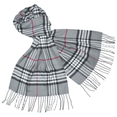 Deluxe Comfort Cashmere Feel Grey New England Plaid Scarf - L
