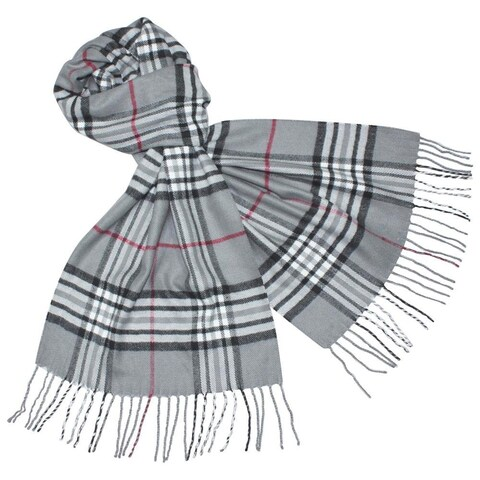 Deluxe Comfort Cashmere Feel Grey New England Plaid Scarf