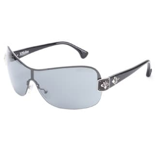 Affliction Unisex Moxie Shield Black and Silver-tone Metal and Plastic Sunglasses