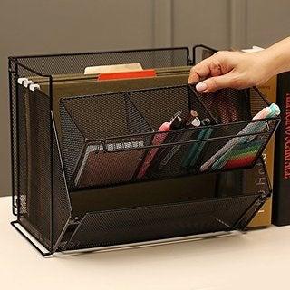 Ikee Design Black Metal Foldable Desk Supply Organizer