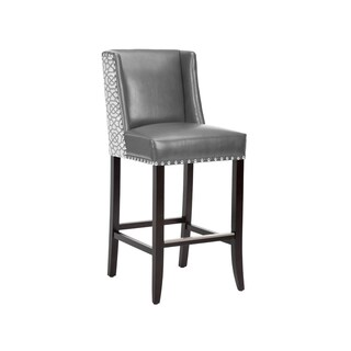 Marlin Grey Leather Wing Back Bar Stool