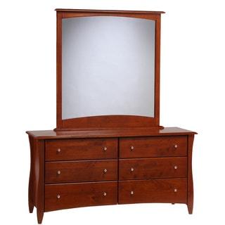 Clove Cherry 6 Drawer Dresser with Mirror