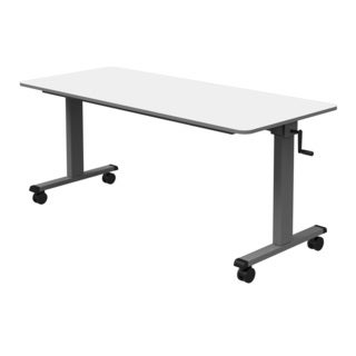 Luxor 60-inch White Adjustable Height Crank Sit/ Stand Desk