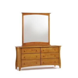 Clove Medium Oak 6 Drawer Dresser with Mirror