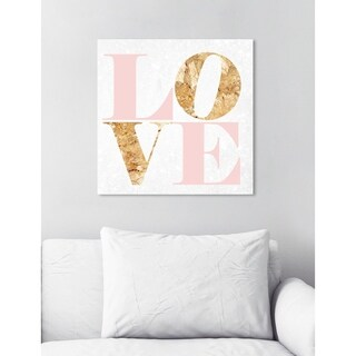 Oliver Gal 'Build On Love Romance' Glam Typography Gallery Wrapped Canvas Art - pink, gold