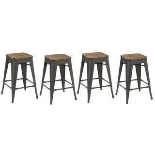 Insdustrial Stackable Antique Distressed Gunmetal 24-inch Steel Counter Barstool with Wood Seat (4 Pack Bar stools)